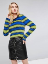 Round Neck Stripe Color Block Women's Cropped Sweater