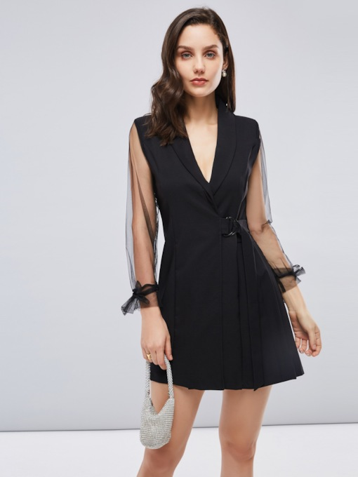 See-Through Patchwork Black Women's Day Dress