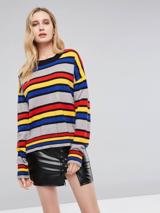 Loose Fit Color Block Round Neck Women's Sweater