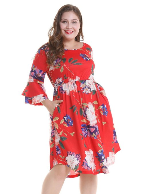 3/4 Length Sleeves Falbala Women's Day Dress