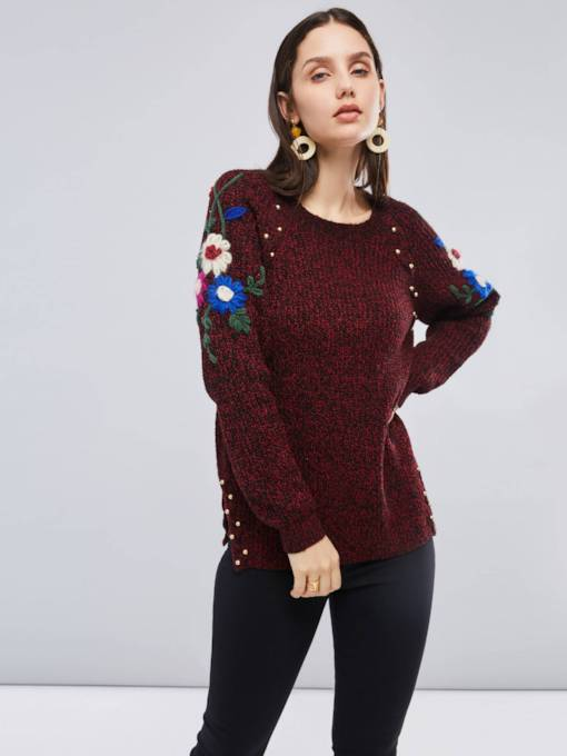 Color Block Floral Embroidery Scoop Neck Women's Sweater