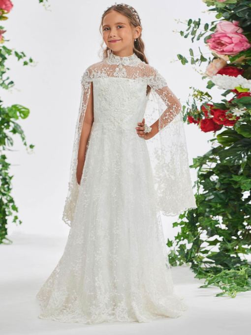 High Neck Beading Lace Flower Girl Dress