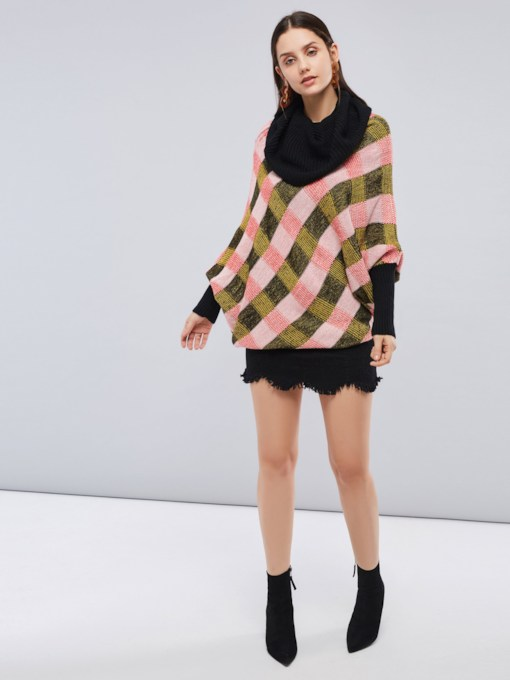 Heap Collar Pullover Batwing Sleeve Color Block Women's Sweater