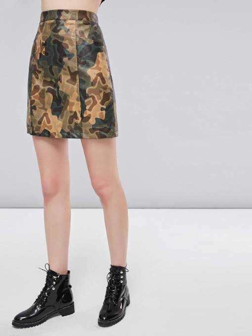 Camo Print Bodycon Pocket Women's Mini Skirt