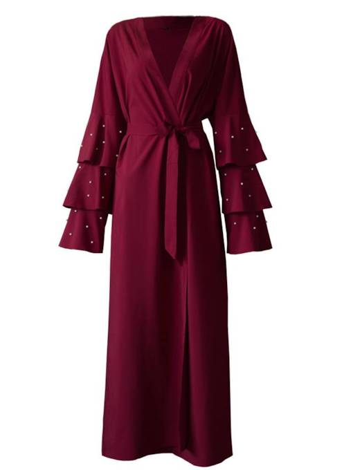 Ruffle Sleeve Beading Lace Up Women's Long Trench Coat