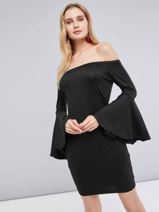 Off Shoulder Bell Sleeve Women's Party Dress