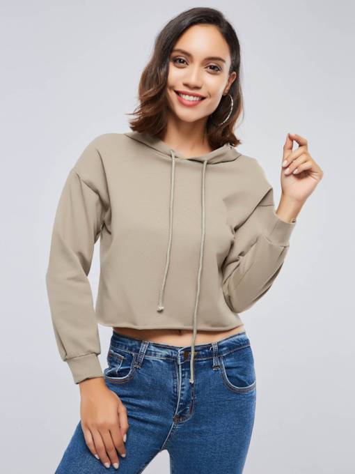 Loose Fit Solid Color Drawstring Women's Hoodie