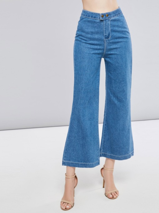 Zipper Button Pocket Women's Wide Legs Jeans