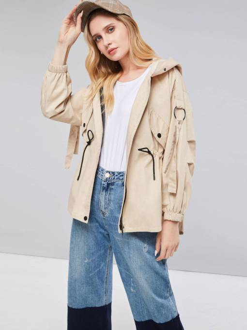 Hooded Mid-Length Zipper Up Women's Trench Coat