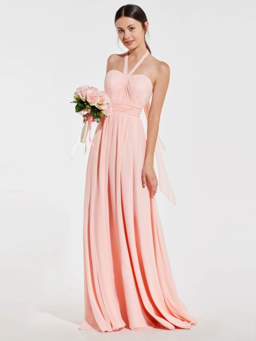 Halter Ruched Long Backless Bridesmaid Dress