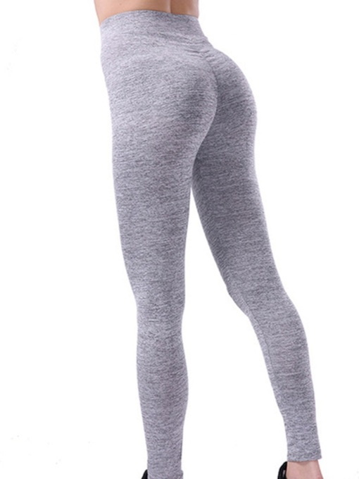 Solid Pleated Slim Women's Yoga Leggings