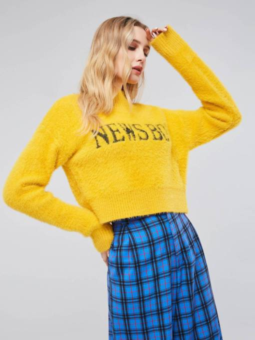 High Neck Letter Print Women's Cropped Sweater