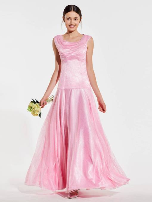 Cowl Neckline A-Line Bridesmaid Dress