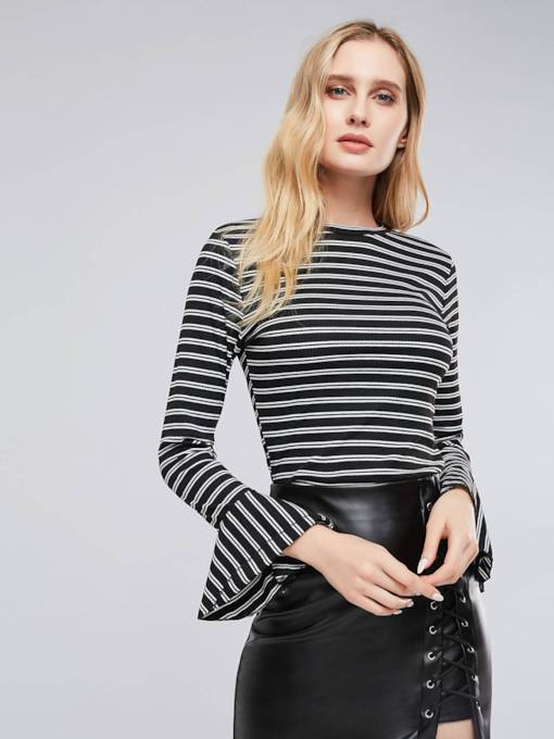 Flare Sleeve Stripe Print Slim Fit Women's Basic T-Shirt
