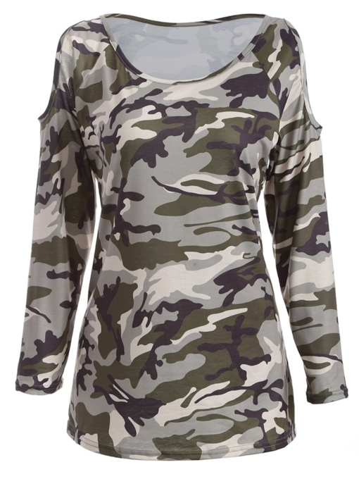 Camo Cold Shoulder Long Sleeve Women's T-Shirt