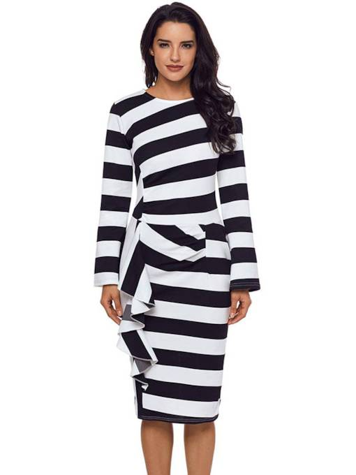 Zipper Stripe Women's Long Sleeve Dress