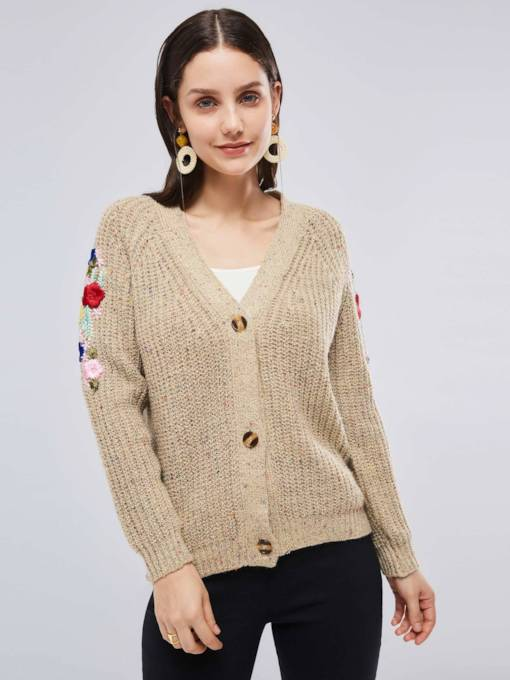 Single-Breasted Floral Embroidery Women's Sweater Coat