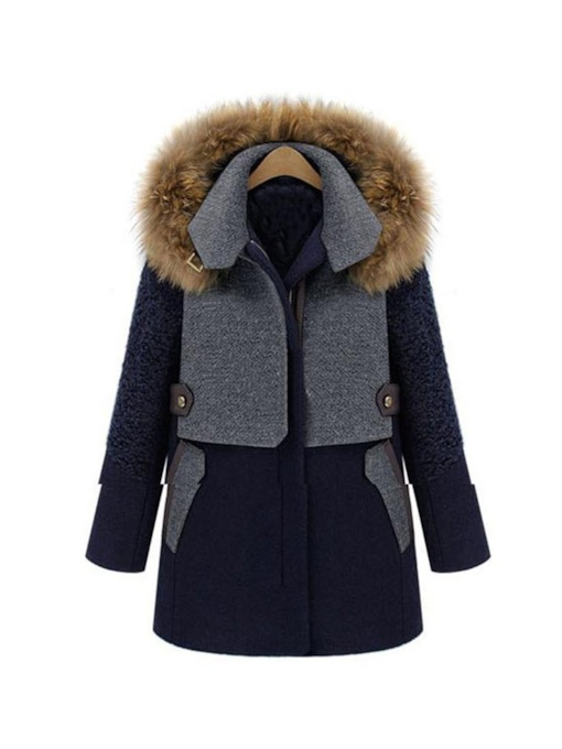 Faux Fur Zipper Up Color Block Thick Women's Overcoat