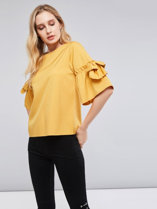 Bow Knot Sleeve Half Sleeve Scoop Neck Women's Blouse