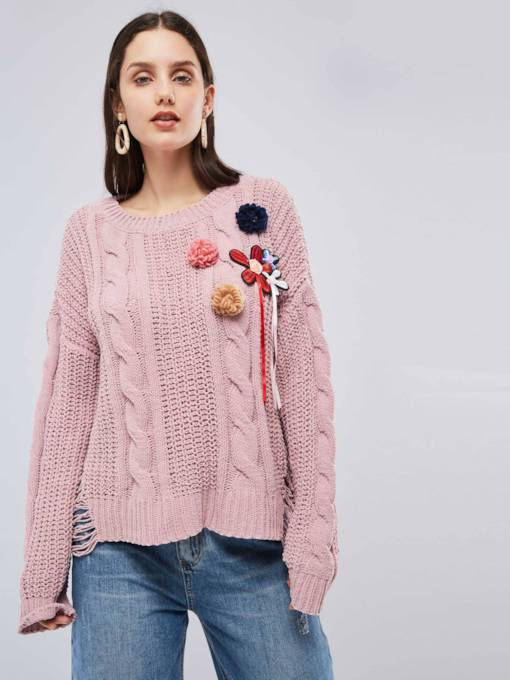 Ripped Scoop Neck Loose Fit Patches Women's Sweater