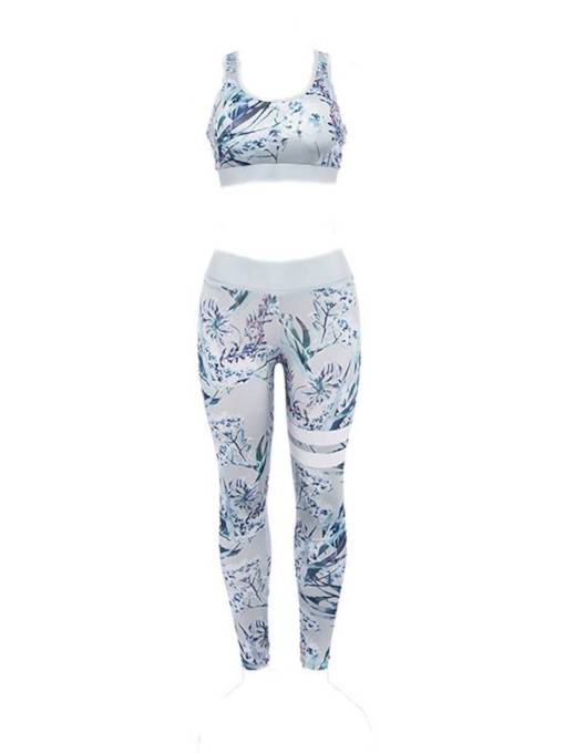 Floral Vest and Pants Women's Biker Outfits