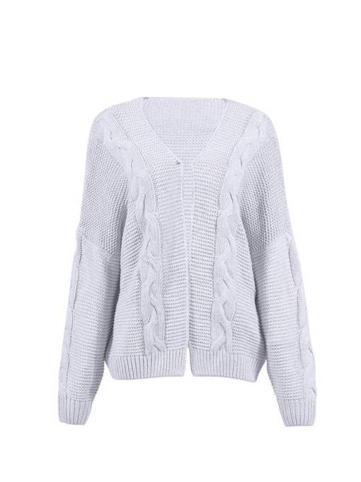 Open Front Loose Fit Solid Color Women's Cardigan