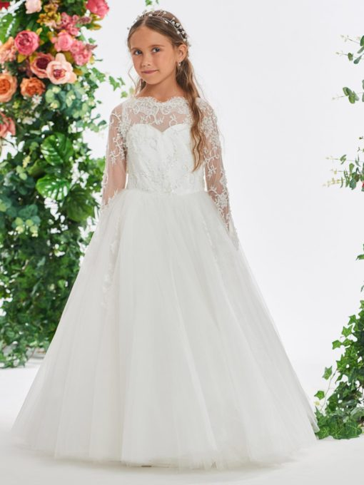 Beaded Lace Long Sleeve Flower Girl Dress