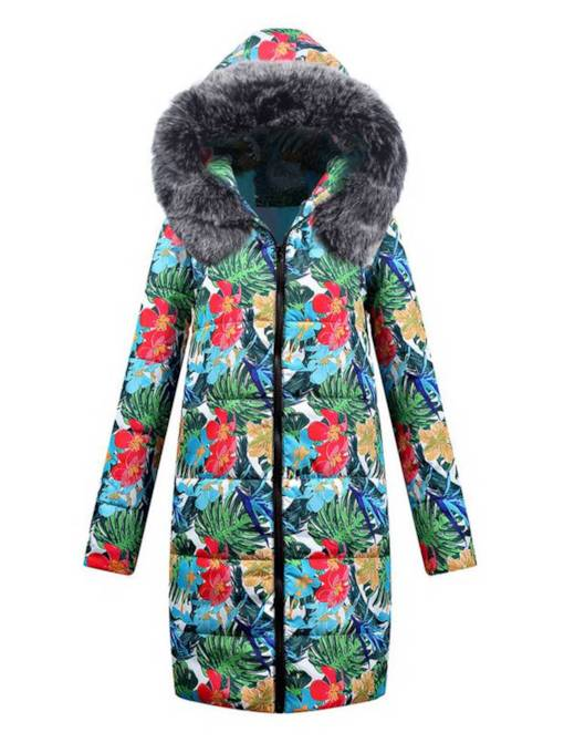 Floral Print Faux Fur Hooded Women's Cotton Clothes