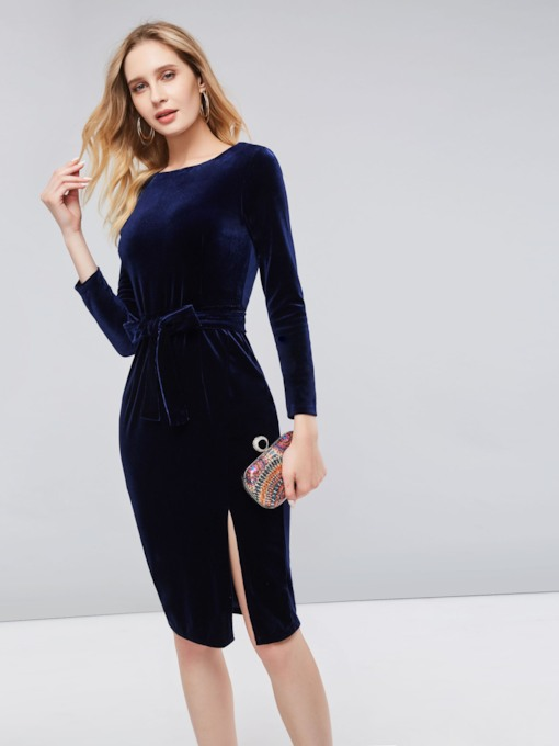 Velvet Split Lace up Women's Bodycon Dress