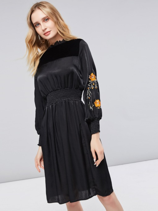 Black Elastical Waist Women's Long Sleeve Dress