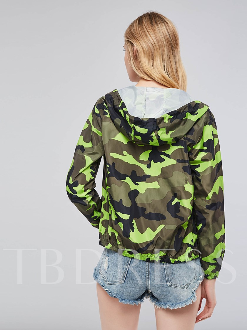 Army Green Zipper Up Hooded Women's Jacket
