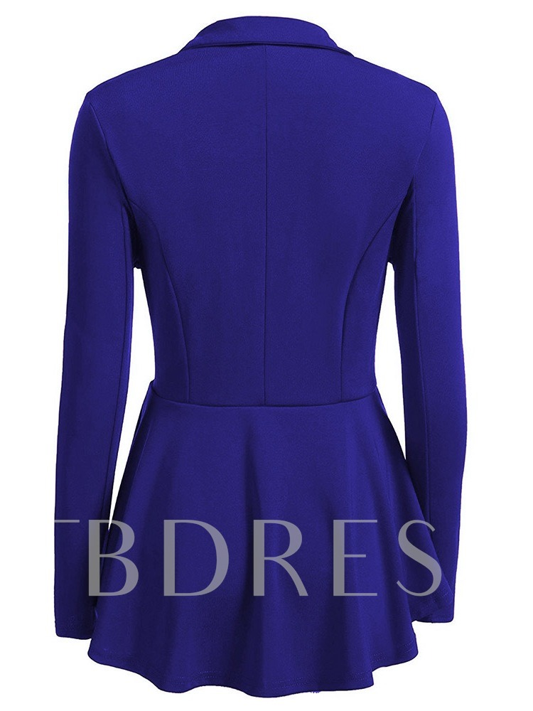 Slim Double-Breasted Plain Notched Lapel Women's Casual Blazer