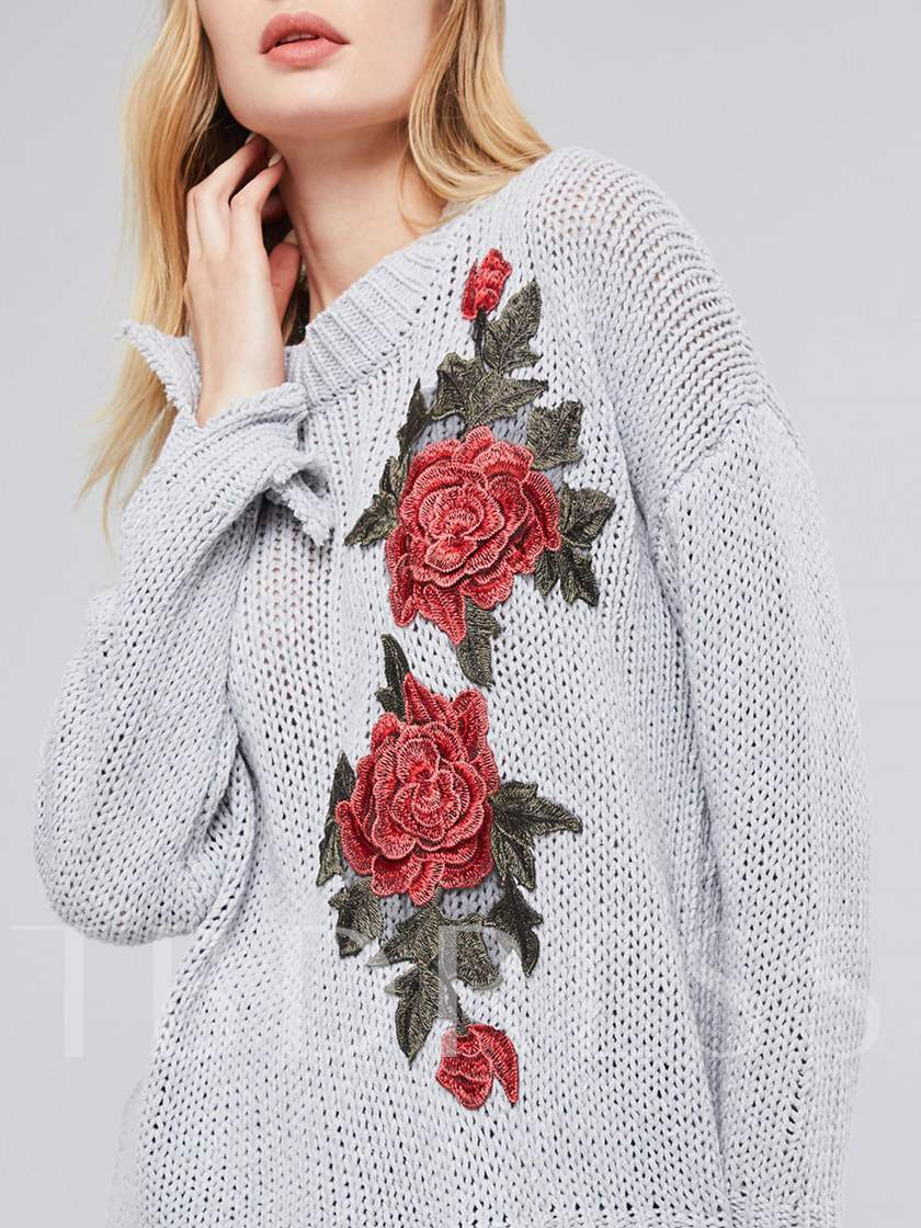 Floral Embroidery Ripped Loose Fit Women's Sweater