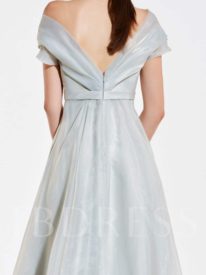 Off the Shoulder Short Sleeves Bridesmaid Dress