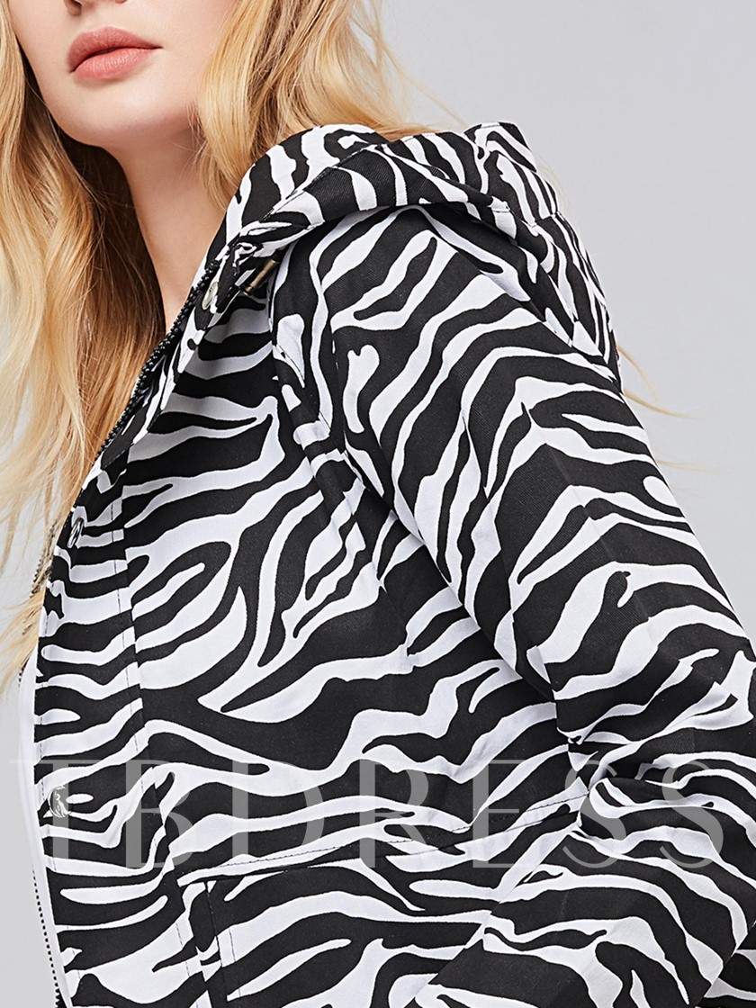 Zebra-Stripe Hooded Slim Fit Women's Jacket