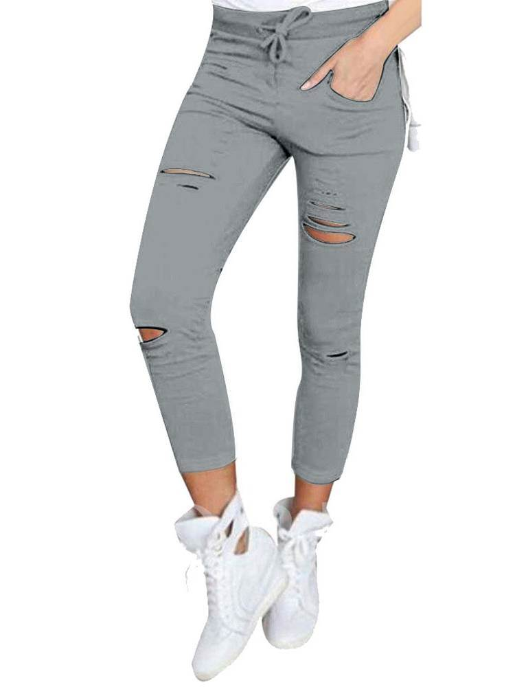 Mid Waist Hole Lace-Up Women's Leggings