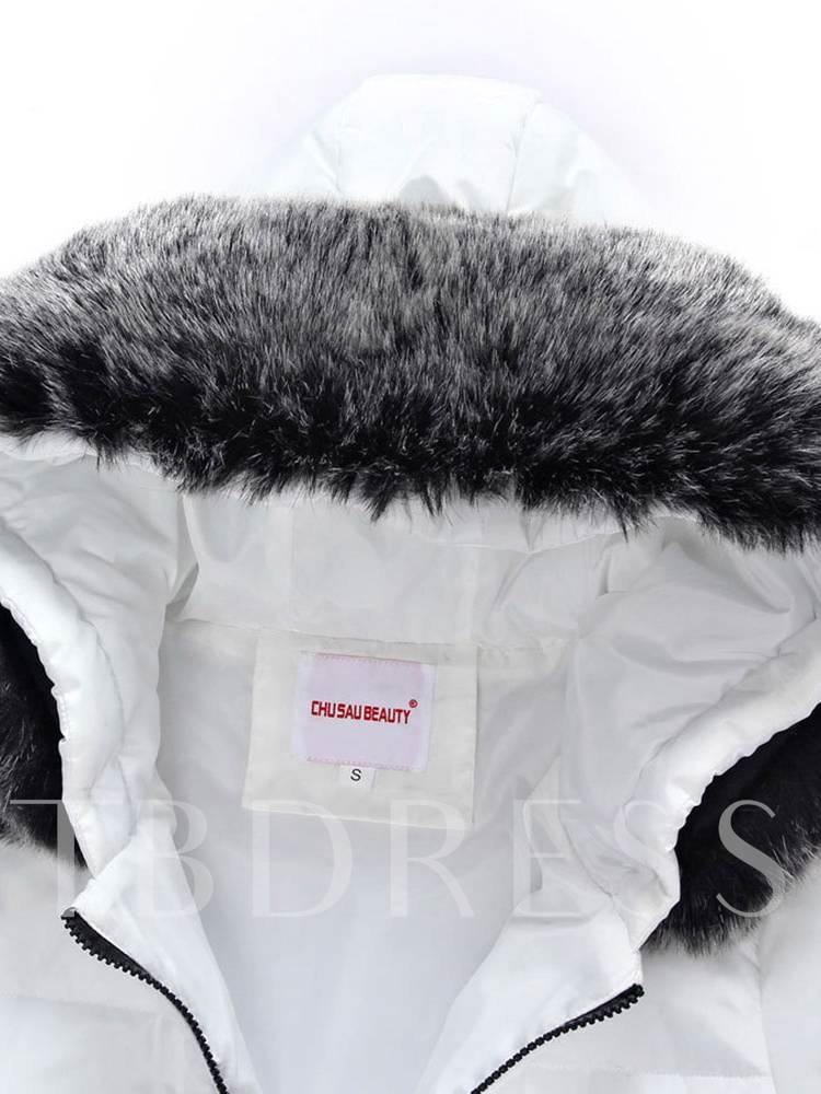 Faux Fur Hooded Zipper Up Mid Length Women's Overcoat