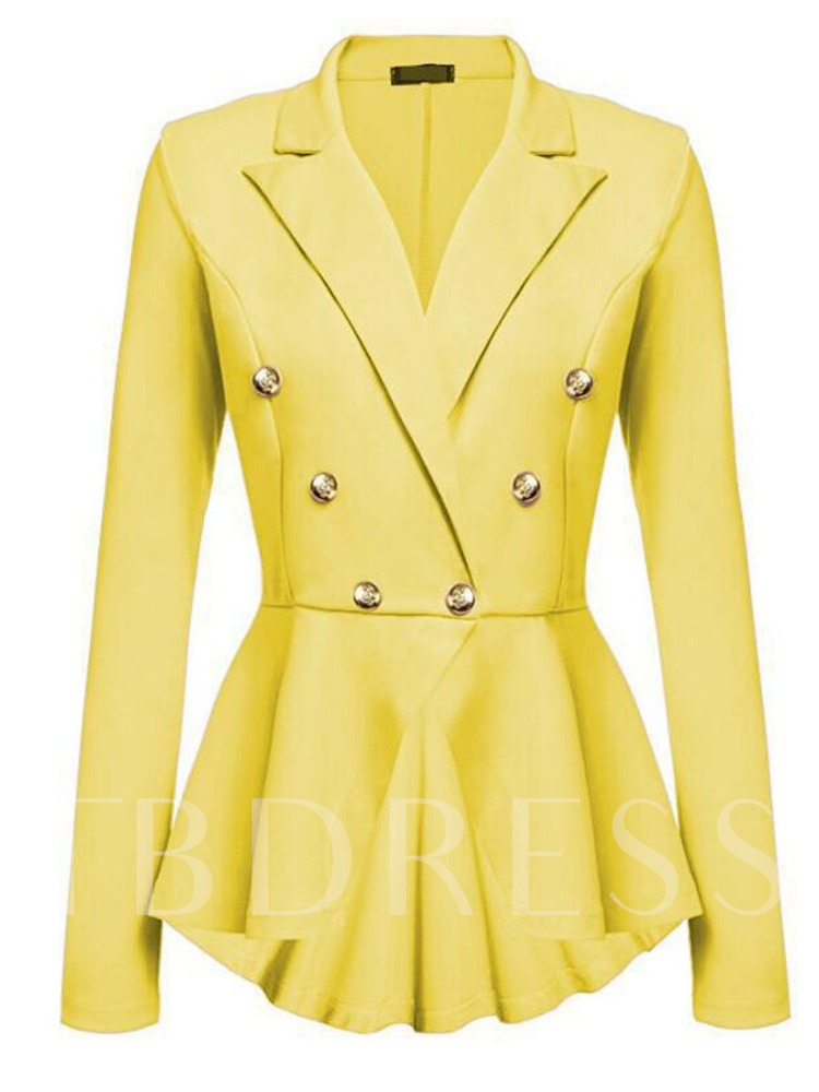 Notched Lapel Double-Breasted Plain Women's Casual Blazer