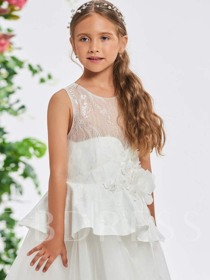 Ruffles Flowers Beading Girl's Party Dress