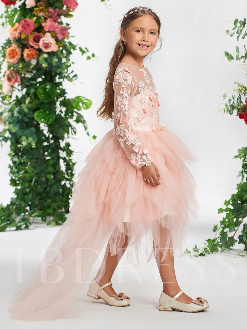 Bateau Neck Flowers High Low Girl's Party Dress