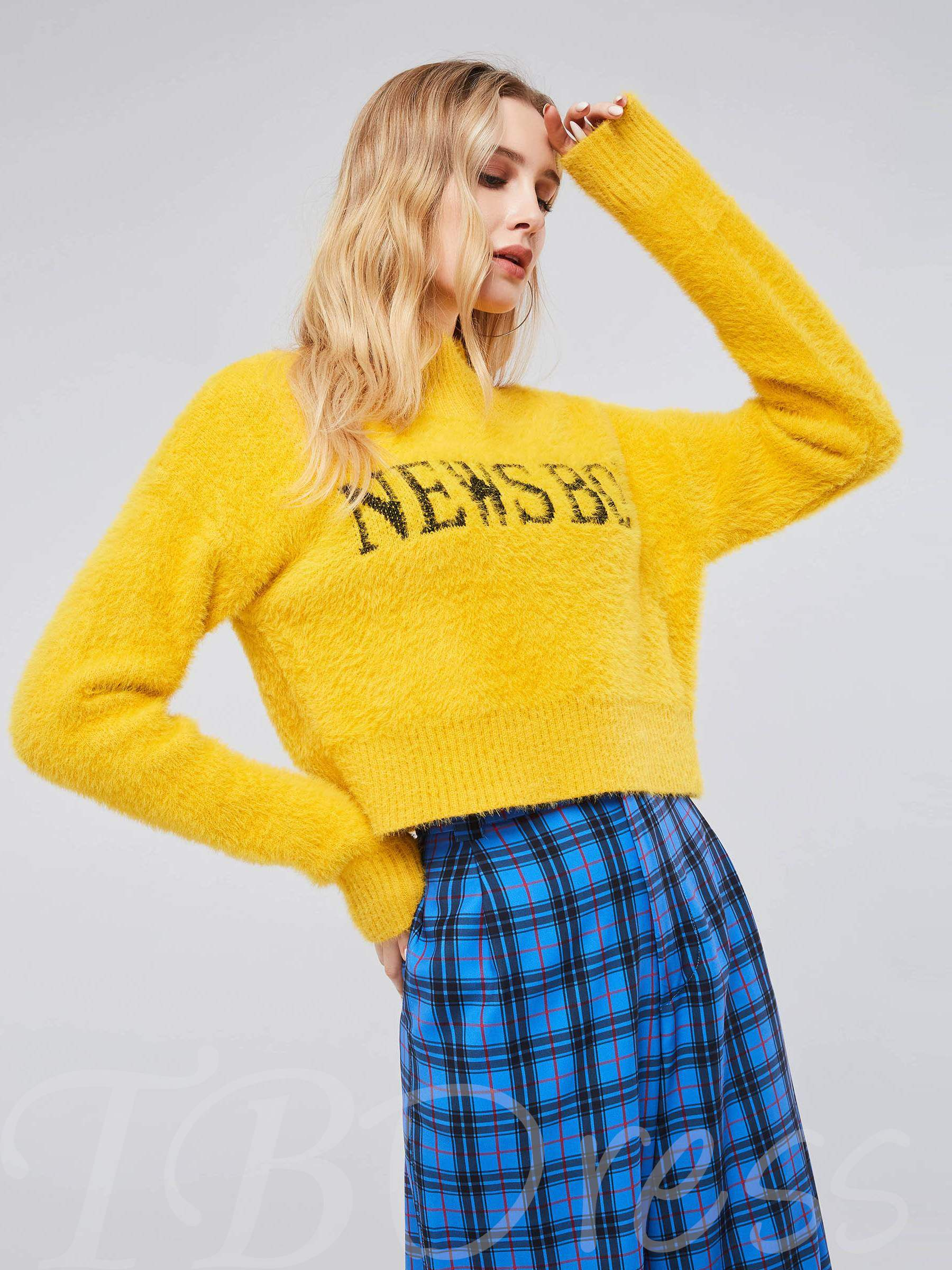 Buy High Neck Letter Print Women's Cropped Sweater, Fall,Winter, 13406298 for $20.59 in TBDress store
