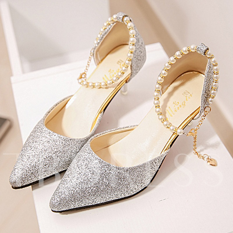 Pointed Toe Stiletto Heel Beads Sequin Exquisite Women's Pumps