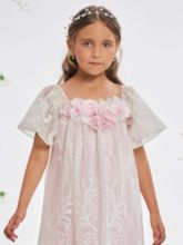 Short Sleeves Flowers Lace Girl's Party Dress