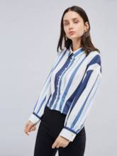 Vertical Stripe Polo Neck Single-Breasted Women's Shirt