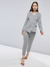 Asymmetric Plaid Blazer and Pants Women's Suit