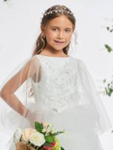 Bateau Neck Appliques Tiered Ball Gown Flower Girl Dress