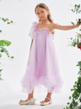 Straps Ruffles Tea-Length Girl's Party Dress