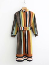 Polo Neck Stripe Women's Long Sleeve Dress