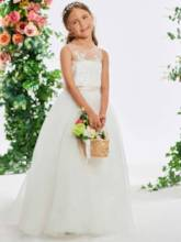 Sheer Neck Beaded Appliques Flower Girl Dress