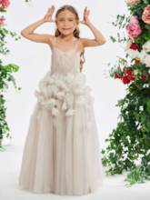 Spaghetti Straps Flowers Girl's Party Dress